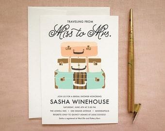 Travel Bridal Shower Invite: Miss to Mrs Printable