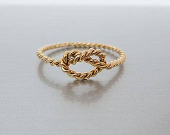 14k Gold Filled Knot Ring - Bridesmaid Ring - Tie the Knot Ring - Friendship Ring - Promise Ring - Best Friend Ring - Gold Knot Ring