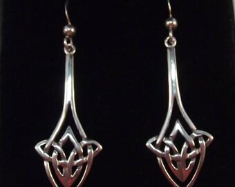 Lovely Long Celtic Knot Sterling Silver Drop Earrings