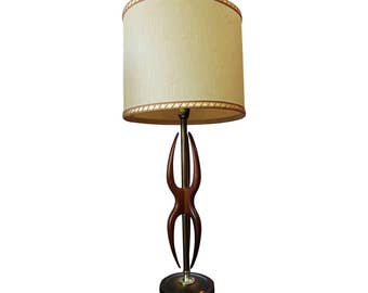 Mid-Century Danish Modern Amorphous Walnut & Brass Table Lamp
