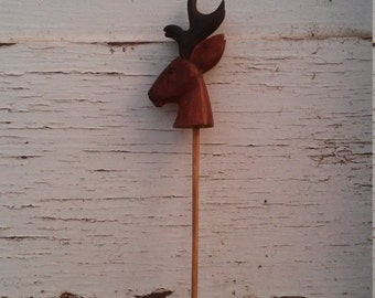 Miniature Carved Stag - Deer Head on a Stick