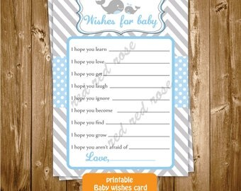 Printable Baby Shower Wishes for the Baby Card, Whale Baby Shower Baby Wishes, Blue and Grey Whale Shower Baby Wishes, INSTANT DOWNLOAD