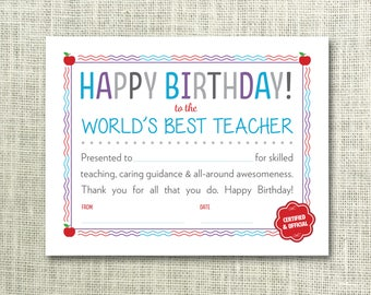 Teacher certificate etsy teacher birthday birthday certificate for teacher worlds best teacher instant download teacher yadclub Image collections