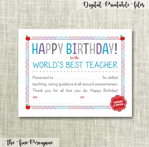 Happy Birthday Teacher Printable Certificate World's