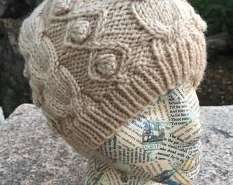 Cable Knit Cap ∙ Winter Hat ∙ Cream ∙ Beige ∙ Handmade