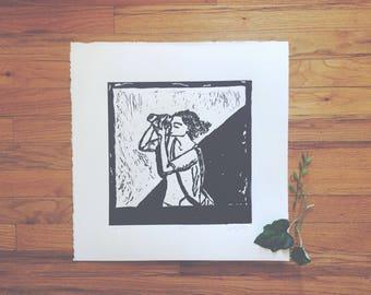"Linocut Print - ""Solo Traveler""   Fine Art, Relief Print, Gift for Photographer, Black and White Art, Polaroid"