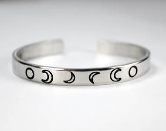 Moon Phase Cuff Bracelet, Personalized Moon Phases With Name, Initial, Date, Message, Full Moon Crescent Moon, Hand stamped Bangle Bracelet