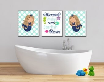 Mermaid Bathroom Art Prints Girls Bathroom Art Print Mermaid Bathroom Decor  Mermaid Wishes And Starfish Kisses