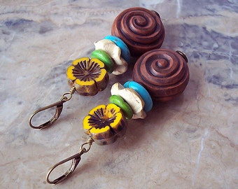 Handmade Organic Earrings with Ceramic, Coconut, Shell, Turquoise and Czech Glass Beads. Brown, Yellow, Turquoise, Ivory. Boho Style.