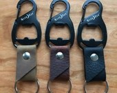 Leather Keychain Clip w/ Bottle Opener
