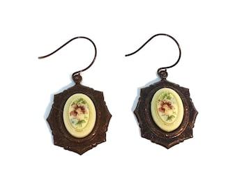 Pansy Cameo Chocolate Brass Dangle Drop Earrings Flower Pansies