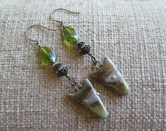 green earrings, rhinestone earrings, raku earrings, elegant earrings, Mothers Day gift, summer earrings, long earrings, long green earrings