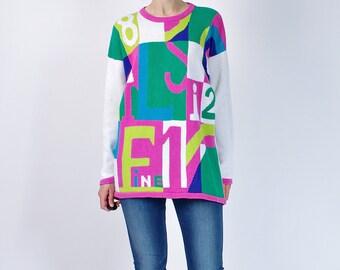 20% OFF SALE - 80s Fine Color Block Oversized Ramie Cotton Women Sweater / Size L/XL or baggy