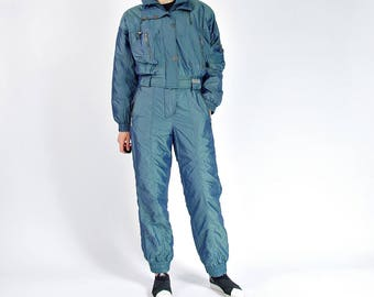 80s Sportline Cameleon Sportswear Ski Two Piece Jumpsuit Made in Germany / Size L