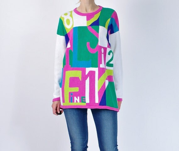 SALE - 80s Fine Color Block Oversized Ramie Cotton Women Sweater / Size L/XL or baggy