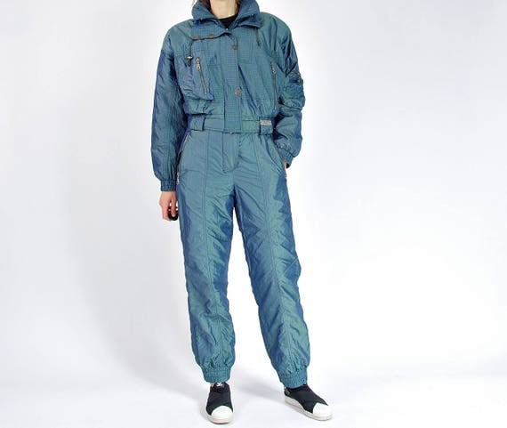 SALE - 80s Sportline Cameleon Sportswear Ski Two Piece Jumpsuit Made in Germany / Size L