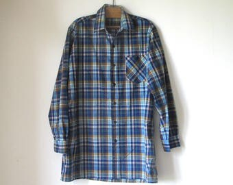 1950s French cotton chore farmer madras paysan work long button Shirt
