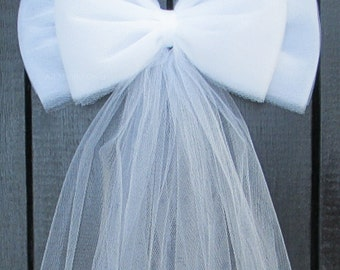 Tulle Pew Bow, White, Ivory, Pink | Wedding Ceremony Decorations | Church Aisle | Chair Sash | Party Bridal Baby Girl Shower