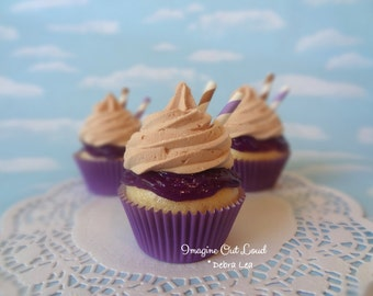 Realistic Fake Cupcake Peanut Butter and Purple Grape Jelly Faux
