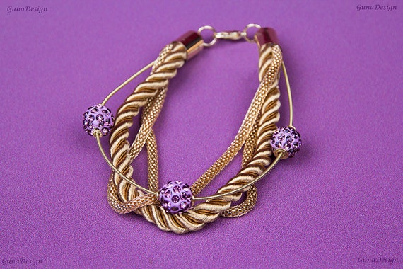 Wrapped Bracelet  with Pink Purple Beads by GunaDesign