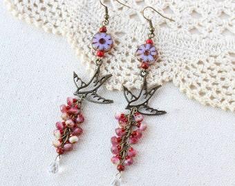 Fly away with me~ nature dangle bird earrings, beaded cluster bird earrings, Czech glass beaded earrings, Swarovski earrings