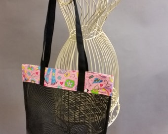 Mesh Tote. Fashionable Pink, Black and White Bag with Long Shoulder Straps. Project, Market or Beach Bag. From MDS Creative.