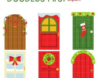 Christmas Doors Clip Art for Scrapbooking Card Making Cupcake Toppers Paper Crafts