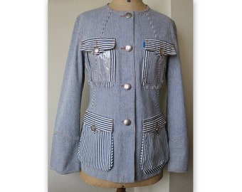 CHRISTIAN LACROIX JEANS blue and white striped denim jacket, size 40