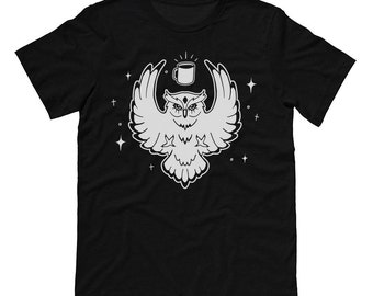 Night Owl Coffee Black Shirt, College Student Shirt, Coffee Lover, Cute Animal Shirt, Up All Night, Ruled By The Moon