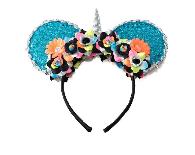 Neon Rainbow Unicorn Mouse Ears Headband