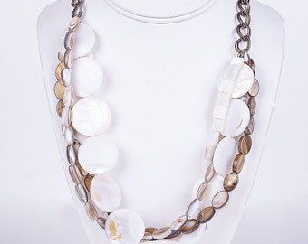 Shell Necklace, Beach Necklace, Multistrand Necklace, Pearl Necklace, Mother of Pearl Necklace, Summer Necklace
