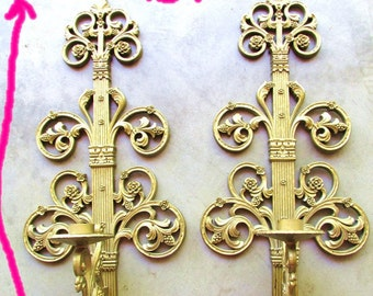 Vintage 1963 Extra Long Pair Wall Sconces Candleholders Syroco Style Homco USA Hollywood Regency 21in Top to Bottom Beautiful Pair