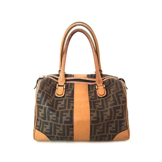Vintage Fendi Bag - Vintage Fendi Handbag - Vintage Fendi Boston Bag - Fendi Logo Bag - Tan Leather Fendi - Tan Fendi Bag - Fendi Logo Bag