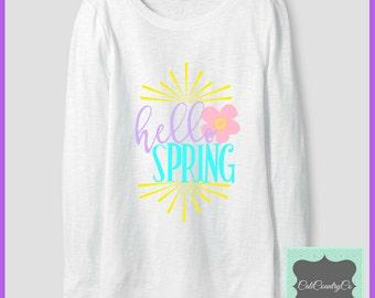 Hello Spring Shirt, Girls Spring Shirt