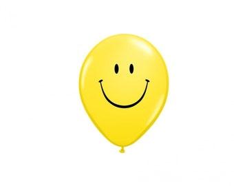 2 Smiley Face 12 Inch Balloon, Birthday Party Decor, Spring Party, Smiley Face, Yellow Theme Party