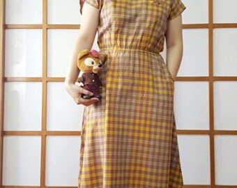 Vintage Yellow Purple Checkered Cotton Dress, Japan, 1980s, M to L