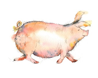Limited edition print - Milly the pig, pig print, Tamworth print, Tamworth pig