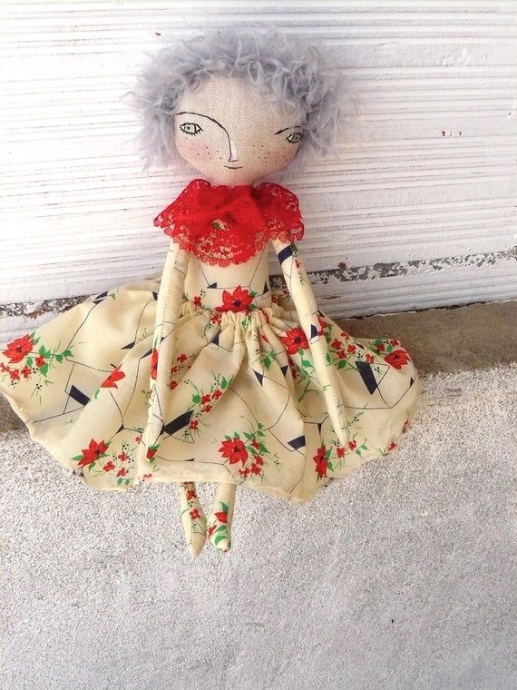 Art doll with hand-knitted hair. 32 cm.