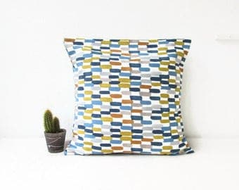 Blue and orange cushion cover, modern pillow cover, batik cushions, Ikat pillow, blue orange decor, square pillow cover, handmade in the UK