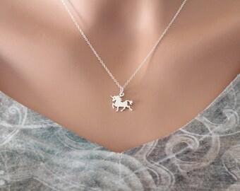 Sterling Silver Unicorn Charm Necklace, Unicorn Necklace, Silver Unicorn Necklace, Mythical Unicorn Necklace, Unicorn Charm Necklace