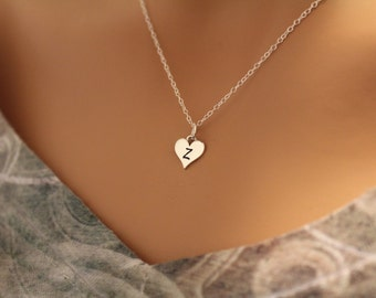 Sterling Silver Z Letter Heart Necklace, Silver Tiny Stamped Z Initial Heart Necklace, Stamped Z Letter Charm Necklace, Z Initial Necklace