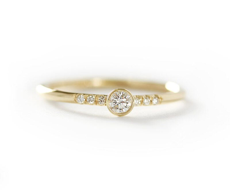 14k solid yellow gold 0 15ct engagement ring simple