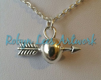 Silver Arrow Shot Through Apple Charm Necklace on Silver Crossed Chain or Black Faux Suede Cord
