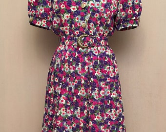 Vintage 80's Does 40's Shirtwaist Dress Rockabilly Secretary Woman's 6