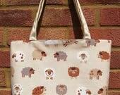 Sheep themed bag large tote bag  animal theme  Sheep fabric tote bag Lined canvas shoulder bag Gift for sheep lover Animal lover gift