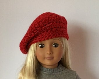 "Sparkly DOLL BERET hat.  For 18"" doll crocheted beret. Fits American Girl Doll. Crocheted doll hat. 18"" doll clothes. 18"" doll hats."