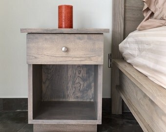 Handmade light grey Ash wood bedside table with drawer,  Handcrafted bedroom furniture, Modern nightstand