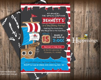 Pirate birthday Invitation Chalkboard Pirate Invitation Ship Birthday Invite Sailing Birthday Digital File by Busy bee's Happenings