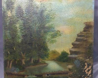 Antique Old Original Art Oil Painting on Canvas American Landscape to the Major