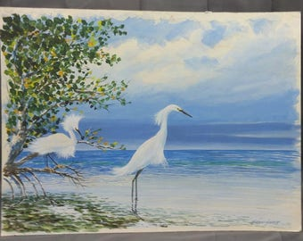 Old Vintage Original Artist Signed Florida Snowy Egrets Birds Painting Signed